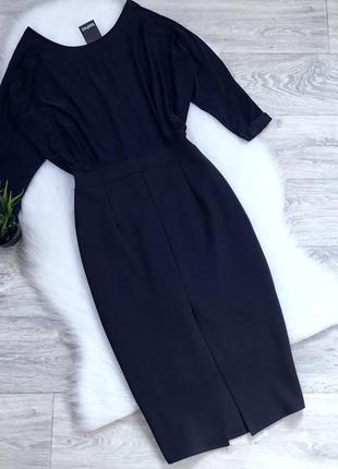 Платье миди с разрезом впереди
