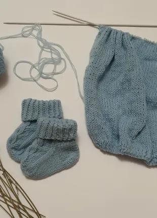 Детские вязаные носочки. Носочки для новорожденных.