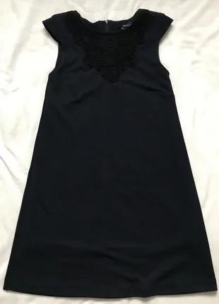 Синее чёрное платье без рукавов Mango