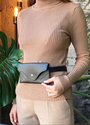 Женская сумка на пояс черного цвета, поясная сумка клатч