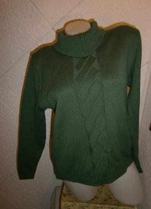Свитер шерсть зеленый с узором