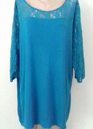 Трикотажная блуза с кружевом большого размера