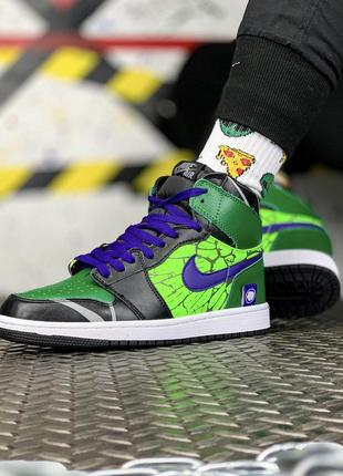 Nike air force high green black, мужские высокие кроссовки найк
