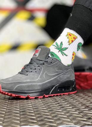 Nike air max 90 grey red, кроссовки мужские найк