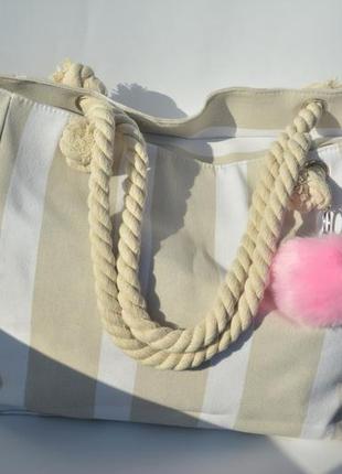 Пляжная сумка дорожная сумка с помпоном