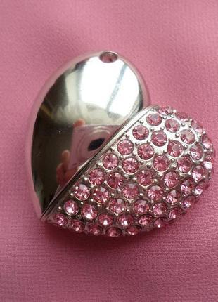 Брелок-флешка с кристаллами, сердце