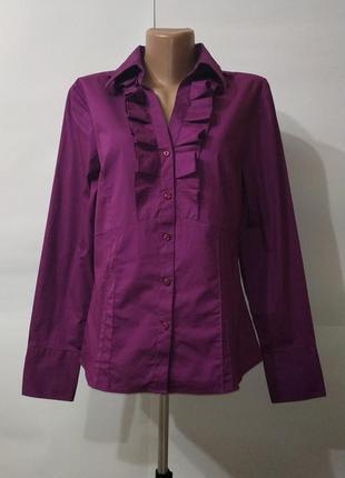 Рубашка блуза красивая фиолетовая хлопковая papaya uk 14/42/l