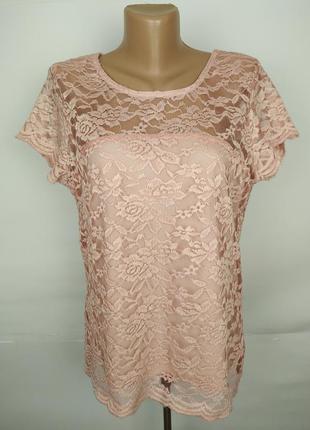 Блуза гипюровая красивая розовая uk 14/42/l