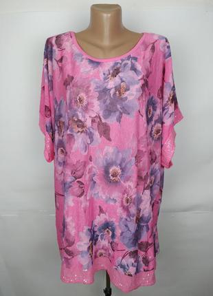 Блуза итальянская красивая в цветы большой размер uk 20/48/3xl
