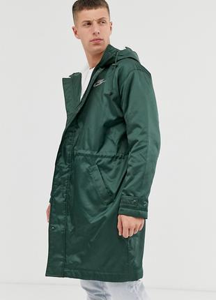 Nike fleece lined parka in khaki