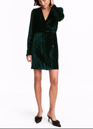 H&m велюровое платье с вырезом