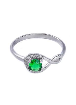 Серебряное кольцо 925 пробы с покрытием из родия с фианитом цв...