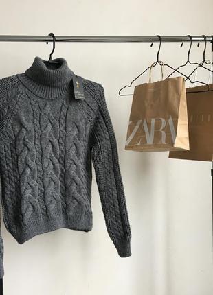 Стильный свитер свитерок крупной вязки в стиле zara