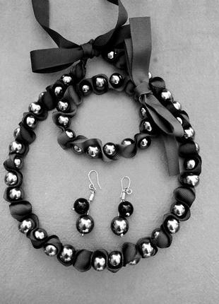 Эффектный жемчужный набор 3-в-1 intertwined pearls ожерелье се...