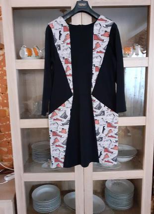 Прикольное комбинированное платье большого размера
