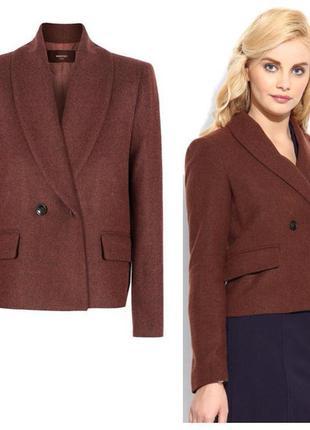Брендовый коричневый шерстяной пиджак жакет с карманами mango ...