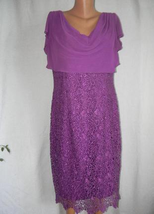 Шикарное брендовое кружевное вечернее платье gina bacconi