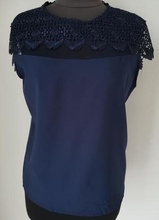Классическая летняя блуза с кружевом из тонкой ткани софт (р-р...