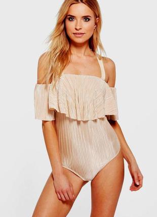 Шикарная золотистая блуза-боди с воланом