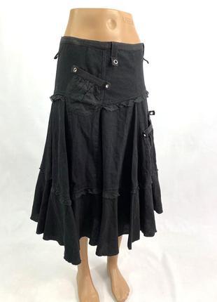 Юбка стильная animale, черная, длинная