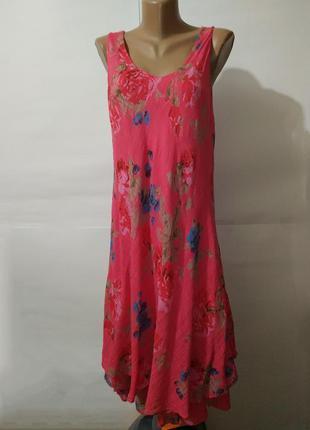 Платье натуральное двухслойное розовое летнее uk 14-16