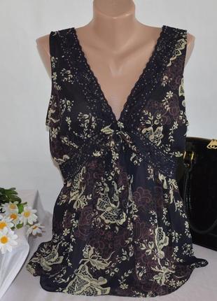 Брендовая шифоновая блуза new look паетки бисер принт цветы