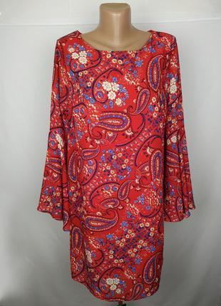 Платье красное стильное в принт на подкладке papaya uk 12/40/m