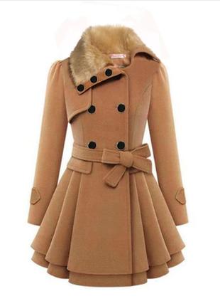 Брендовое демисезонное пальто с меховым воротником и поясом xian