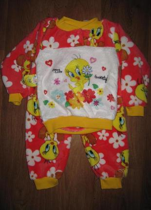 Пижамка для девочки, махра. на  1,2,4,5 лет. в наличии !!!
