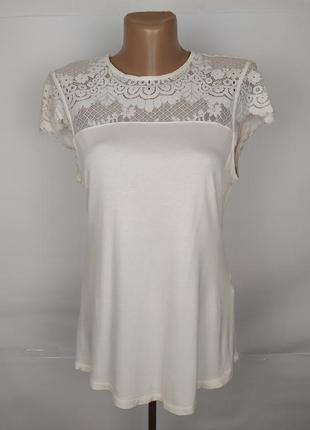 Блуза шикарная с кружевной кокеткой h&m uk 12/40/m