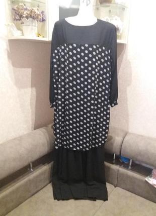 Черное платье в горох макси оверсайз франция  п22