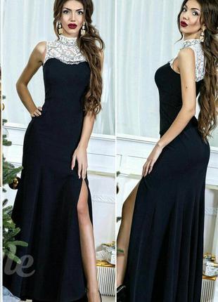 Шикарное вечернее платье с украшенем