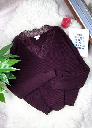 Оверсайз свитер с кружевом h&m