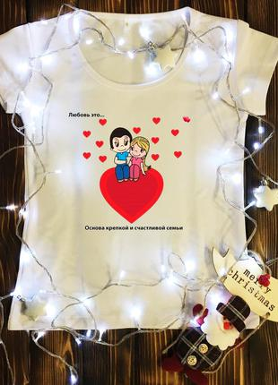 Женская футболка  с принтом - love is…