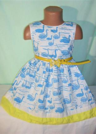 Хлопковое платье в лебедях на 4-5лет