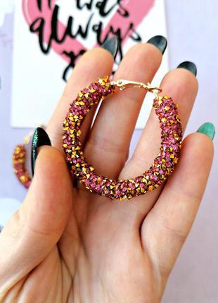 Яркие серьги кольца с кристаллами/розовый/золотой/новая коллек...