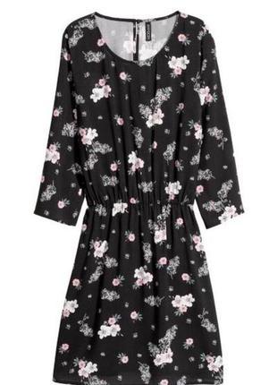 Милое чёрное платье цветочный принт цветы вискоза