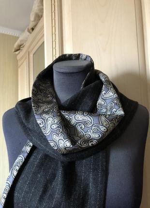 Подарок мужчине! статусный мужской шарф шелковый шерстяной, на...