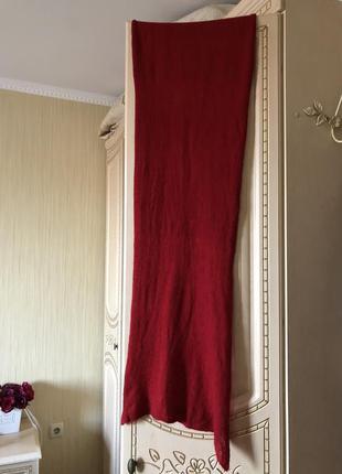 Кашемировый шарф шаль палантин, натуральный кашемир, алый красный