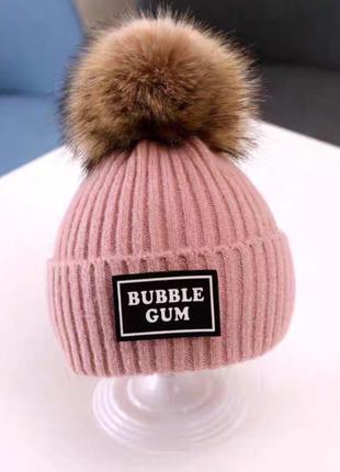 Классная шапочка с пушистым помпоном!