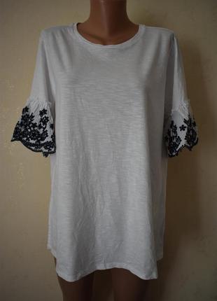 Трикотажная блуза с вышитыми рукавами большого размера f&f