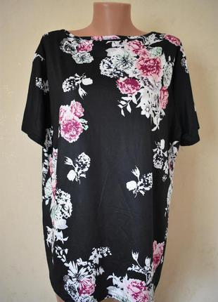 Трикотажная блуза с принтом цветы большого размера