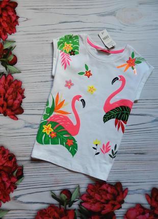 🌿хлопковая,подростковая, невероятная футболка с фламинго. возр...