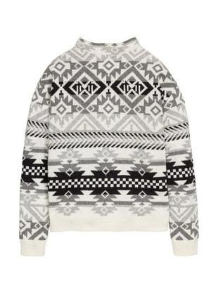 Кофта свитер джемпер с орнаментом зимний серо-белый горловина ...