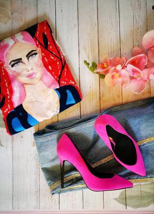 Модные замшевые туфли fath фуксия р. 39- 40