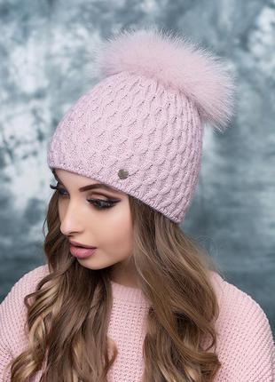 Женская шапка анталия. мех натуральный песец