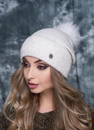 Женская шапочка фиеста на флисе. мех нат песец
