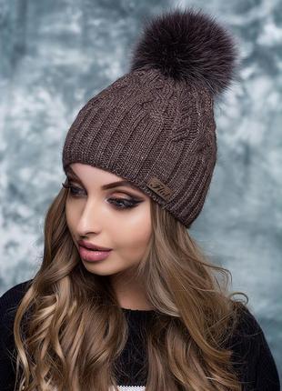 Женская шапка беатрис на флисе. мех нат песец