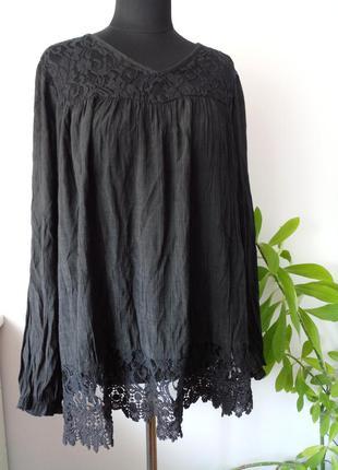 Невесомая натуральная блузка с кружевом от zizzi
