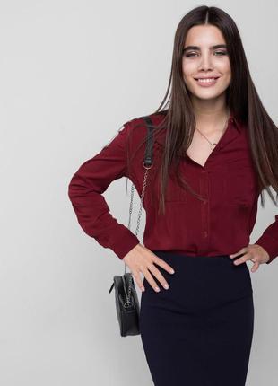 Бордовая рубашка,блузка вискоза от deville